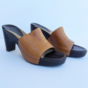 Cole Haan Tan Leather Country Heeled Clogs Sandals